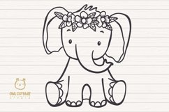 Little Elephant with Flowers Crown Svg , Baby Elephant Cut F Product Image 2
