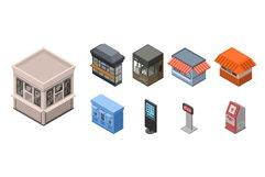 Street shop kiosk icon set, isometric style Product Image 1