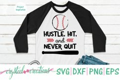Hustle, Hit, and Never Quit Baseball SVG, DXF, PNG, EPS Product Image 2