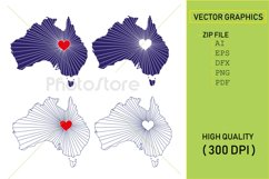 I Love Australia, Country Map Silhouette Product Image 1