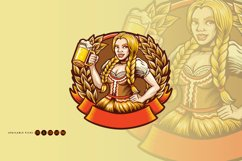 Beautiful Beer Girl Mascot Badge SVG Illustrations Product Image 4