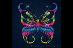 30 Rainbow Glitter Sequin Watercolor Butterfly Clip Arts PNG Product Image 4