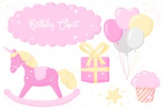 Fairy Birthday Pink Girl Clipart Set Hand Drawn Pastel Product Image 4