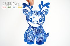 Christmas Reindeer paper cut SVG DXF EPS files Product Image 3