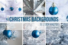 Blue ball on a silver and white Christmas tree Photo Set Product Image 1