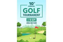 Golf poster. Green course, holes with flagsticks and sand tr Product Image 1