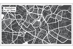 Birmingham Great Britain City Map in Black and White Product Image 2