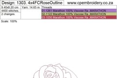 Floral Circle Rose Outline Machine Embroidery Design Product Image 5
