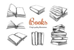 Books hand drawn illustrations. Reading, Library Product Image 1