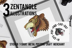 Zentangle Stylized Saber tooth Product Image 1