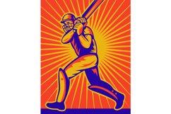 cricket sports batsman batting retro Product Image 1