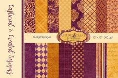 16 Royal Decree Burgundy & Gold Digital Paper Pack Product Image 1