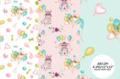 Baby animals birthday seamless pattern. African friends set Product Image 5