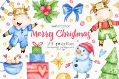 Watercolor Christmas Bulls Clipart - PNG Files Product Image 1
