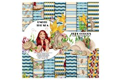 Mermaid Digital Paper Pack Red Hair Woman Paper Pack Product Image 1