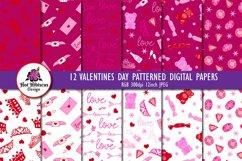 Valentine Patterns   Valentines Digital Papers Bundle Product Image 1