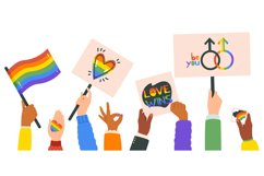 Hands holding lgbt posters. People crowd with rainbow flag, Product Image 1