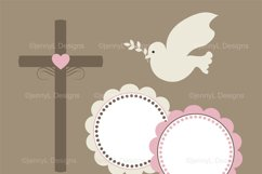 Girl Baptism Digital Papers, Cross Dove Clipart, Product Image 2