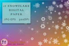 Christmas Backgrounds. 12 snowflake digital paper Product Image 1
