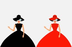 Woman in black and red dress, hat Product Image 1