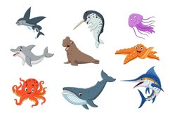 Set of Nineteen Cute Cartoon Ocean Animal Product Image 3