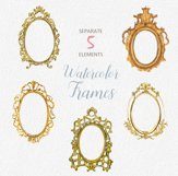 ON SALE, Hand Painted Golden Watercolor Frames Clipart Product Image 3