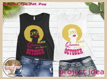 Black queens are born in October birthday t shirt design Product Image 3
