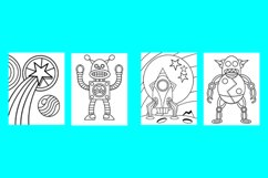 20 Robot Coloring Pages for Kids Printable PDF and PNG files Product Image 3