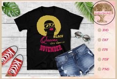 Black queens are born in November birthday t shirt design Product Image 1