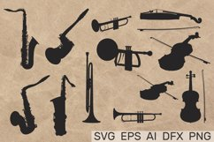 MUSICAL INSTRUMENTS collection Clipart. Vector illustration Product Image 1