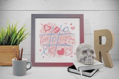 Love set. Hearts kisses doodle clipart, frames and pattern Product Image 5