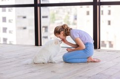 Cute teenage girl training her spitz dog at home Product Image 5