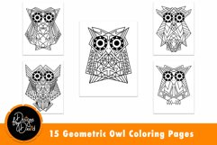 Geometric Owl Coloring Pages Printable PDF Product Image 2