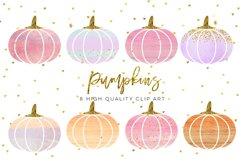 WATERCOLOR pumpkin clip art, Orange Pumpkin digital clipart, Pink Pumpkin clipart, Fall Pumpkin digital clip art, Watercolor Pastel Pumpkins Product Image 1