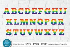 Rainbow letters svg, rainbow alphabet svg, gay pride letters Product Image 2