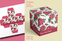 Printable Red Roses Cube Boxes for Small Favors Set of 4 Product Image 4