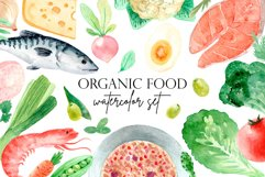 Organic Food. Watercolor Clipart Set Product Image 1