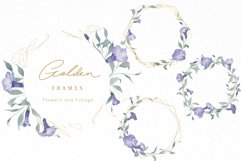 Watercolor Flowers Wreaths Gold Frames Wedding Wildflowers Product Image 2