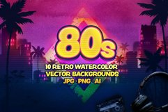 80s Retro Watercolor backgrounds. Product Image 1