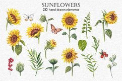 Watercolor sunflowers PNG. Product Image 2
