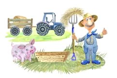 Farm animals watercolor Clipart. Product Image 4