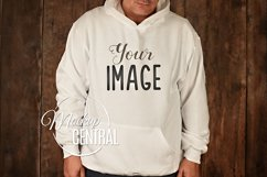 Men's White Hoodie Sweatshirt Mockup, Grey Shirt Mock Up Product Image 1
