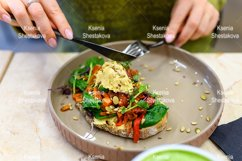 raw food. toast with homemade hummus and baked vegetables Product Image 1