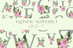 Festive alphabet watercolor in flowers png 26 letters Product Image 2