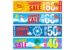Summer shopping vector banners set. Hot price concept templa Product Image 1