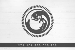 Fish in circle icon silhouette isolated on white background Product Image 1
