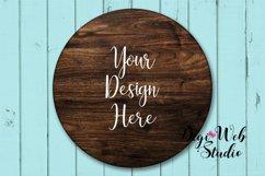 Wood Sign Mockup - Round Wood Sign on Cottage Blue Shiplap Product Image 3