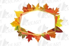 Fall leaves golden geometric frame templates. Autumn wedding Product Image 5