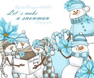 Blue snowman clipart Product Image 1