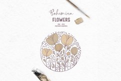 Hand-drawn boho clipart | Beige wildflower clipart Product Image 1